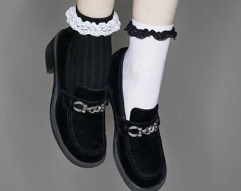 90s black velvet horsebit loafers size 8.5