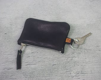 Black Leather KEY RING purse, Soft leather, zipper key purse, vintage brown key ring purse, key ring card pouch, soft suede interior