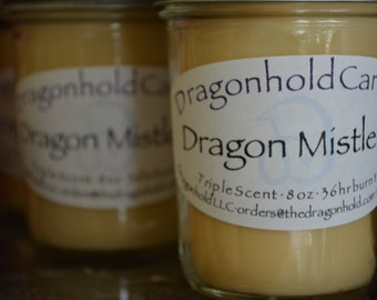 Dragon Mistletoe Candle: Hand Poured, Triple Scented Soy-Paraffin Candle
