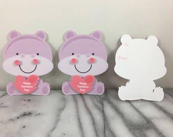 Valentines, Hippo-Satz von 12, Mini-Grußkarten, Valentinstag, Klassenzimmer Valentines, Schule Valentines, Kita Valentines