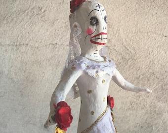Vintage Mexican Day of the Dead Catrina Bride Paper Mache Calavera, Wedding Gift, Skeleton Bride