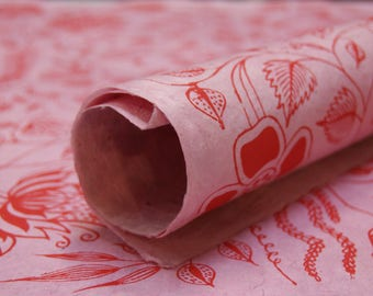 Retro Holland Dutch Pink Red Flower pattern handmade Wrapping Paper gift wrap 3 sheets floral print