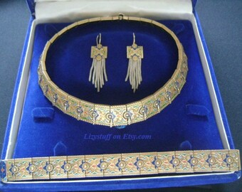 Antique Anatoli Byzantine Caucasus 925 Sterling Gold Vermeil Gilt Ornate Green Red Blue Turquoise Sapphire Enamel Necklace Bracelet Earrings