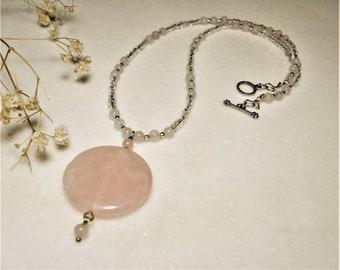 Organic Rose Quartz Necklace ∫ Chakra Healing Gemstone Choker Necklace ∫ Women's Quartz Choker Jewelry ∫ Rose Quartz Necklace Gift for Her