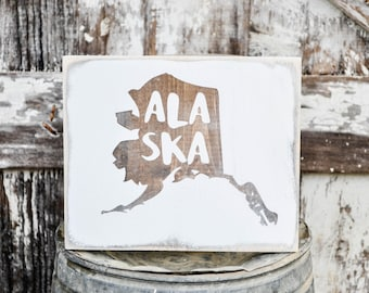 Alaska Wood State Sign | Rustic Decor | Wood Sign | Country Home | Wall Hanging | Farmhouse Decor | Whitewash | Home State Sign