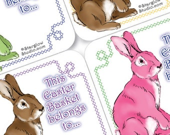 Easter Basket Decorations - Easter Rabbit PDF Gift Tags Download - Printable Gift Tags - Instant Download Gift Tags - Pink Green Blue Brown