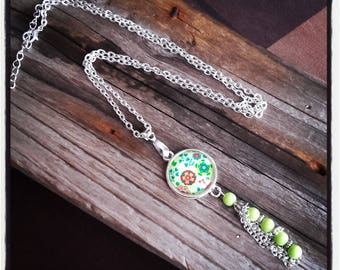 flowers and pearls/bunch cabochon silver pendant necklace