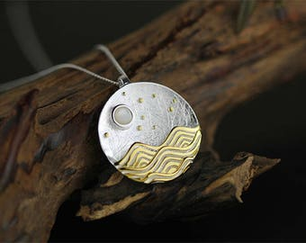 Ocean Waves 3D Sterling Silver Necklace