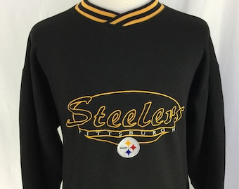 Vintage 90s Pittsburgh Steelers Black Stater Embroidered Pull Over Size XL NFL Football