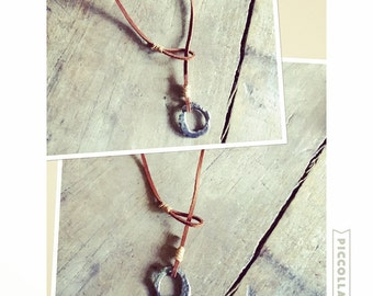 Leather lariat necklace circle pendant recycled fine silver inscription simple rustic jewelry UNBROKEN Pendant