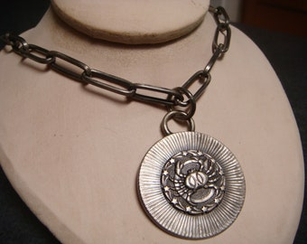 Vintage Pewter Inspired CRAB CANCER Zodiac NECKLACE