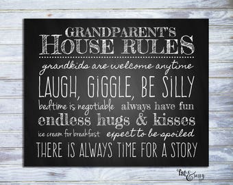 Grandparent's House Rules Printable, Grandparent's Wall Art, Grandma and Grandpa's Rules Chalkboard Home Decor, INSTANT DOWNLOAD