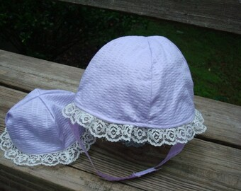 Baby or Toddler Girl's Summer Bonnet with Matching Doll Hat - Evelyn 738