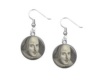 Shakespeare Dangle Earrings, William Shakespeare, Literary Jewelry, Bookish Gifts, English Teacher Gift, Shakespeare Jewelry, Literary Gifts
