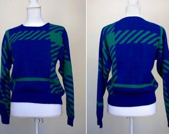 1980s Oversize Plaid Izod Sweater // Small/Medium