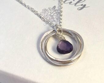 Amethyst Necklace, February Birthday, February Birthstone Necklace, 40th birthday, 50th birthday, Rings Necklace