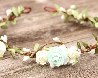Bridal Floral Mint Crown, Floral crown, Wedding flower crown, flower crown, wedding crown, floral head wreath, boho hair accessories ivory