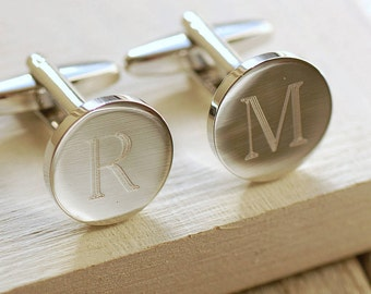 Personalised Round Initial Cufflinks ~ Engraved Wedding, Anniversary, Birthday, Father's Day Gift
