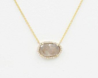 1.62Ct. Gray Sapphire Necklace/Simple Grey Sapphire Necklace/Sapphire Diamond Necklace/Diamond Halo Necklace/Solid 14k Yellow Gold necklace