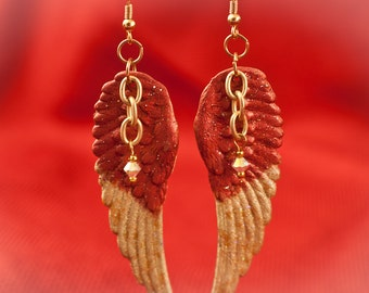 Glitzy Glam Angel Wings with Swarovski Crystal on Gold Earrings - Free Shipping