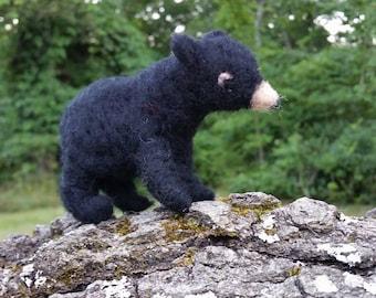 Needle Felted Black Bear, Wildlife, Woodland Animals, Black Bear, Handmade