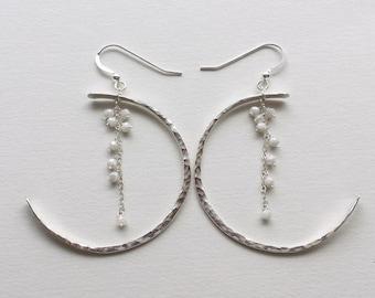 Crescent Moon Earrings,  Half Moon Earrings, Hammered Silver Hoops, Silverite Earrings, Bohemian Hoop Earrings, Gypsy Dangle Earrings