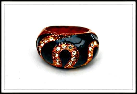 Copper Ring - Black Enamel - Clear Rhinestone  - Swirl size 7 Ring