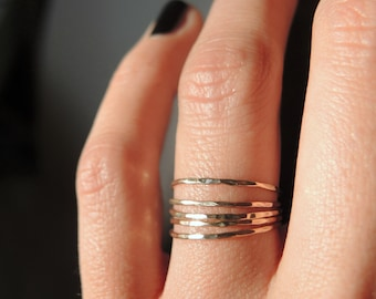 5 gold filled delicate and dainty stack rings/ Ultra thin rings/ Dainty trendy and elegant jewelry/ Rock Elegance/ RockElegance