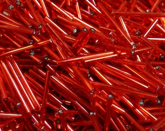 30mm silver lined red glass bugle beads 20gr