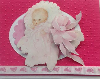 CHRISTENING, BAPTISM, NEWBORN, Baby Girl, Shower, Welcome New Baby Handmade Card