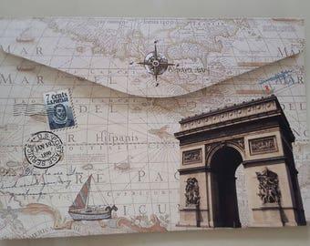 envelop Paris vintage retro 33.5 x 23 cm