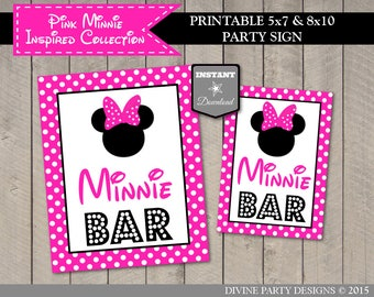INSTANT DOWNLOAD Printable Hot Pink Mouse 5x7 and 8x10 Minnie Bar Party Sign / Hot Pink Mouse Collection / Item #1757
