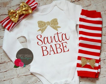 Santa Baby Girl Christmas Outfit Baby's First Christmas Gold and Red Glitter Newborn Baby Shower Gift Christmas Bodysuit