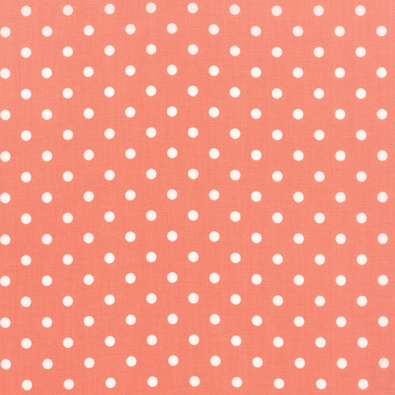 Corey Yoder Little Miss Shabby Peach With White Dot Quilt Fabric. 29005-24