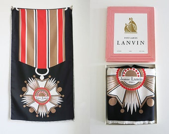 Jeanne Lanvin Silk scarf with medal very rare 70s with original box