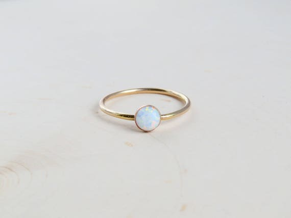 White Opal Ring Gold