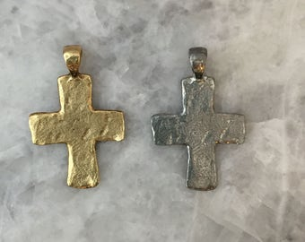 Cross Pendant Hammered 49mm, Chunky Gold OR Silver, Bail, Pewter, Lead Free