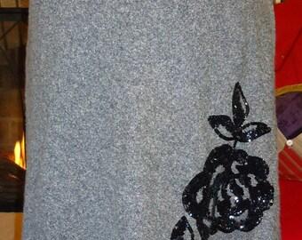 Black Tweed skirt w/ sequin applique