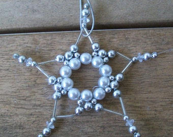 Hand Beaded Silver and Pearl Ornament