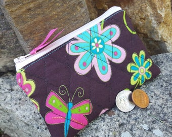 Butterfly Coin Purse, Girls Zipper Wallet, Quilted Change Purse, credit card pouch