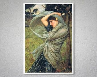 Boreas by John William Waterhouse - Poster Paper, Sticker or Canvas Print / Gift Idea