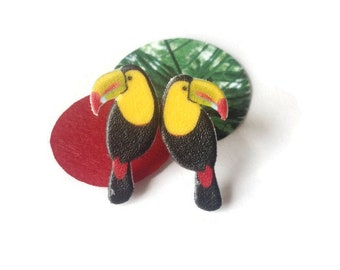 Toucan earrings, toucans , bird jewelry