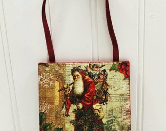 Victorian Santa Ornament, St Nicholas with Bag of Toys Christmas Tree Beeswax Wall Hanging