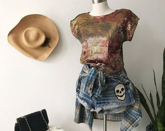1980s Metallic Top - Lurex Top - Plastic Dots - Piettes - Shell top - Disco - Club Wear - Lady Gaga Style - Rock n Roll - Festival Style
