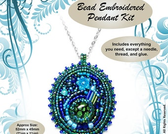 "Bead Embroidered Pendant ""Atlantis"" BEAD KIT - Suitable for complete beginners!"