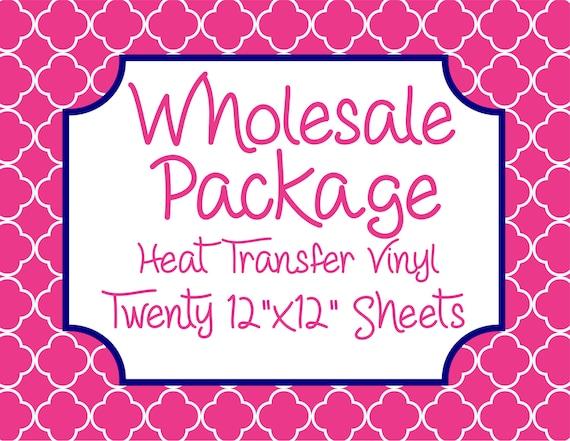 "Wholesale Package for Twenty 12""x12"" Heat Transfer Vinyl Sheets // Beautiful, Vibrant Patterns"