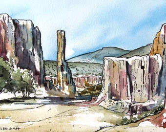 Desert Canyon - Original Watercolor Painting
