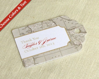 "Italy Wedding Favor Tag -  Tuscany Florence Vintage Map  - Destination Travel - Bridal Shower - Choose Colors and Wording - 2.75"" x 1.75"""
