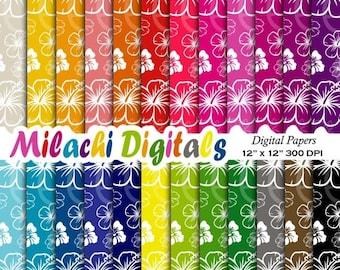 60% OFF SALE Hibiscus digital paper, floral scrapbook papers, tropical wallpaper, Hawaiian background - M375