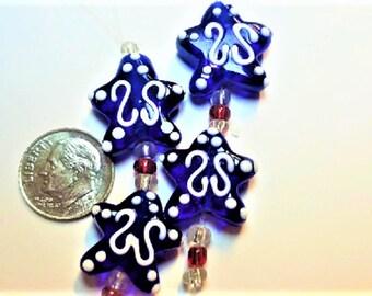 4 lampwork glass Stars